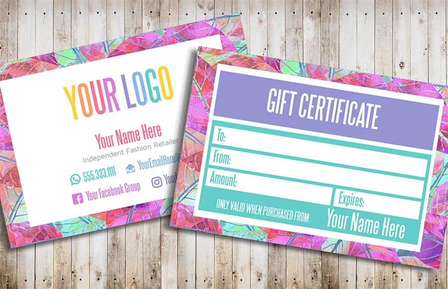 Gift Card Gift Certificate Template Printable Gift Certificate Etsy