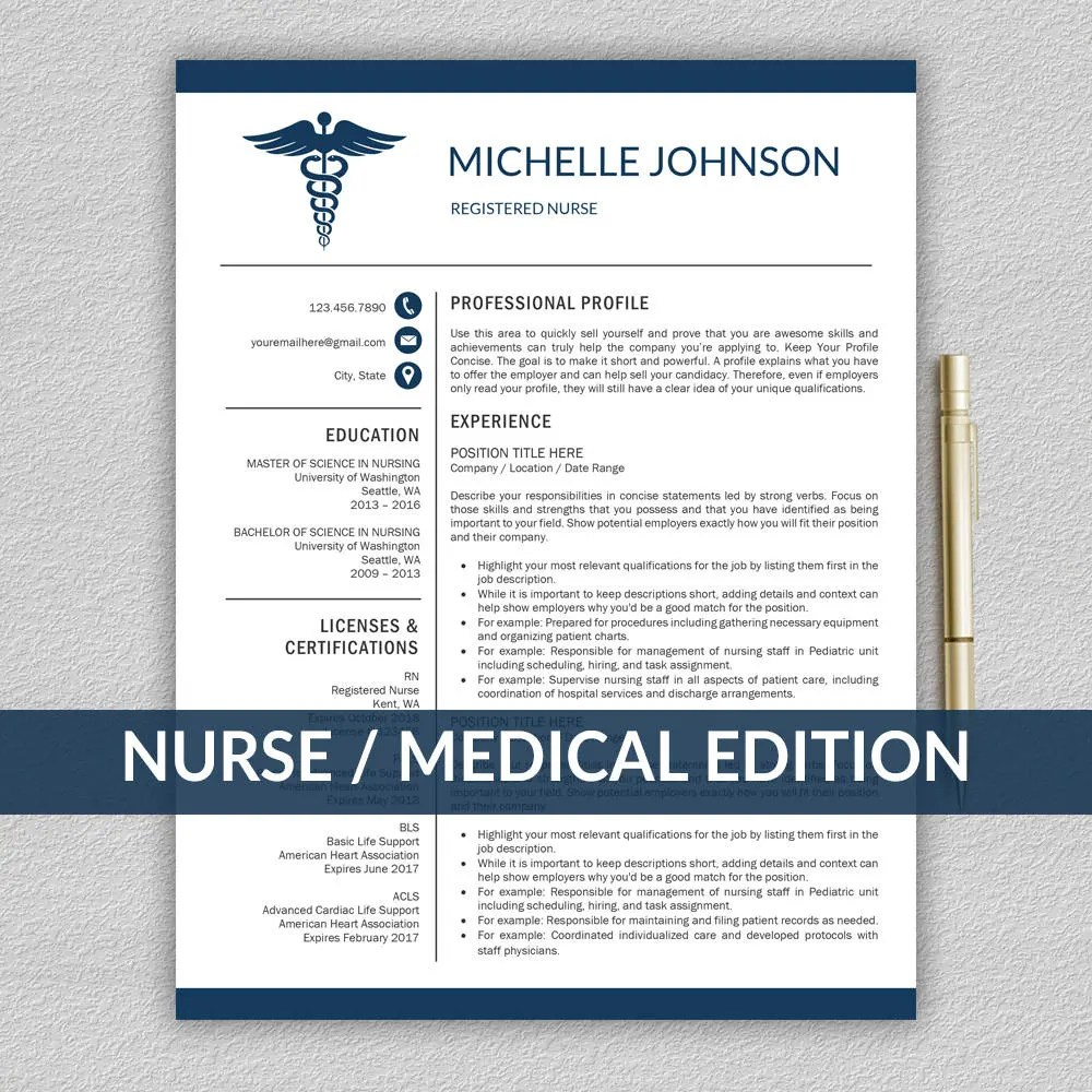 Nurse Resume Template for Word / Doctor Resume Template Etsy