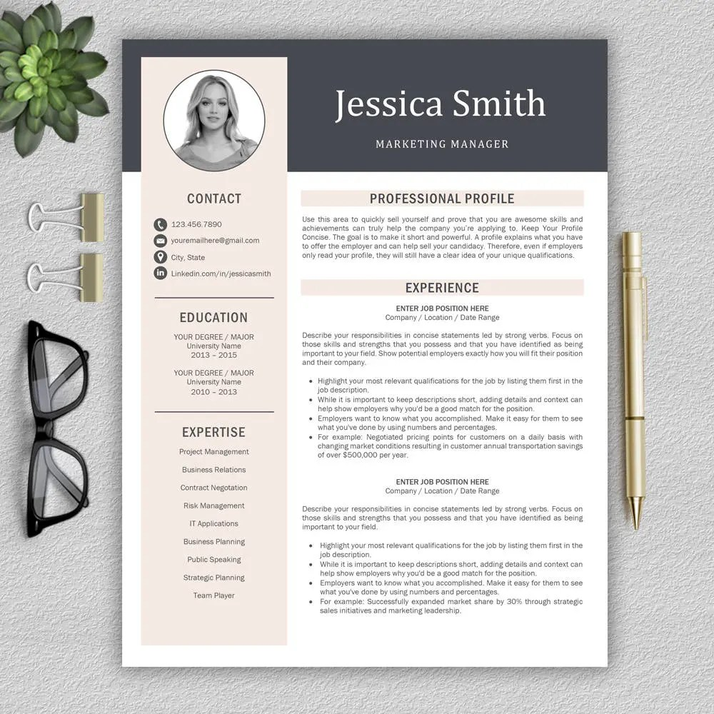 Modern Resume Template / Professional Resume Template for Word Etsy