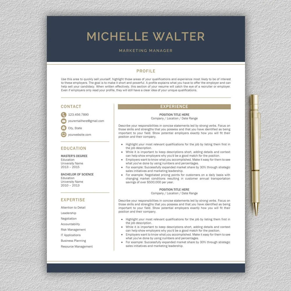 Modern Resume Template Professional Resume Template Word Etsy