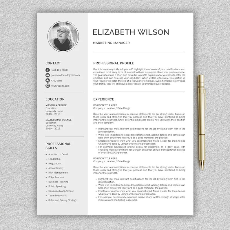 Resume Template / CV Template Cover Letter Professional Etsy