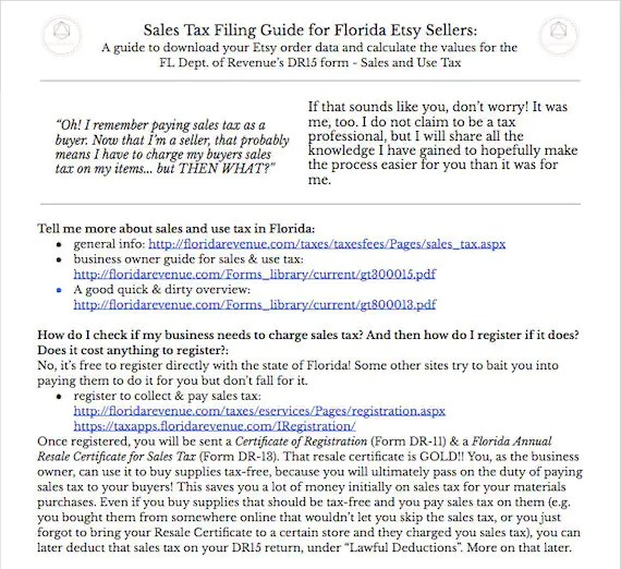 Florida DR15 Sales Tax FILING Guide For Etsy Sellers w Etsy