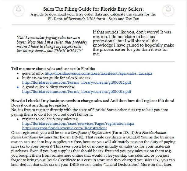 Florida DR15 Sales Tax FILING Guide For Etsy Sellers w/ Etsy