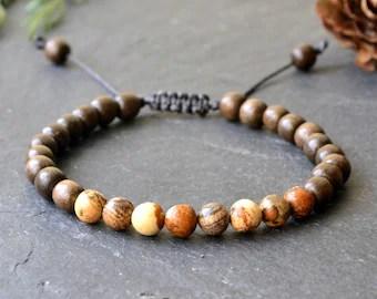 Mens Wood Bracelet Wooden Beaded Palmwood Stacking Etsy