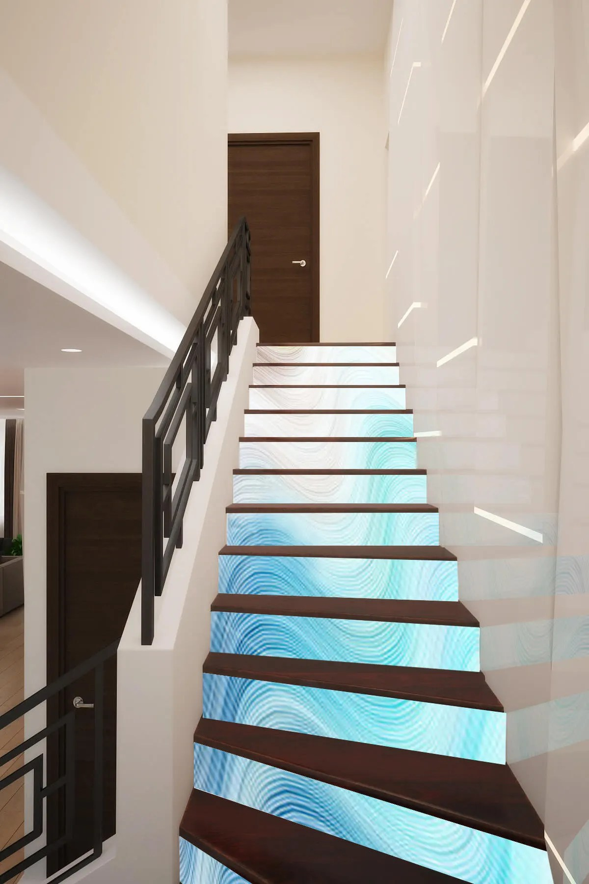 Décoration Murale Vinyle 3d Waves Geometry Stair Decoration Adhesive Vinyl Stair Riser Panels Stairs Risers Sticker Mural Photo Mural Vinyl Decal Wallpaper Removable