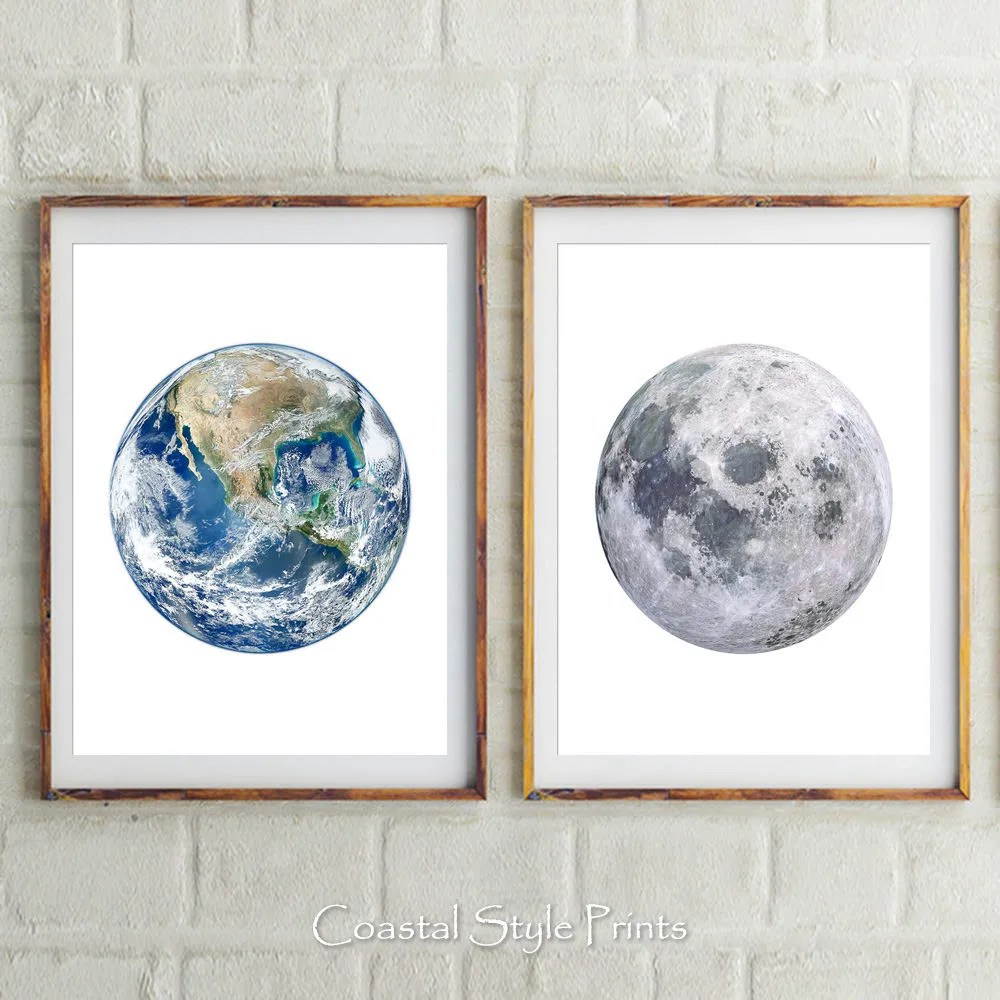 Planets Wall Art Set Of 2 Earth And Moon Prints Planets Wall Decor Moon Earth Moon Print Wall Art Planets Prints Earth Print Earth Photography