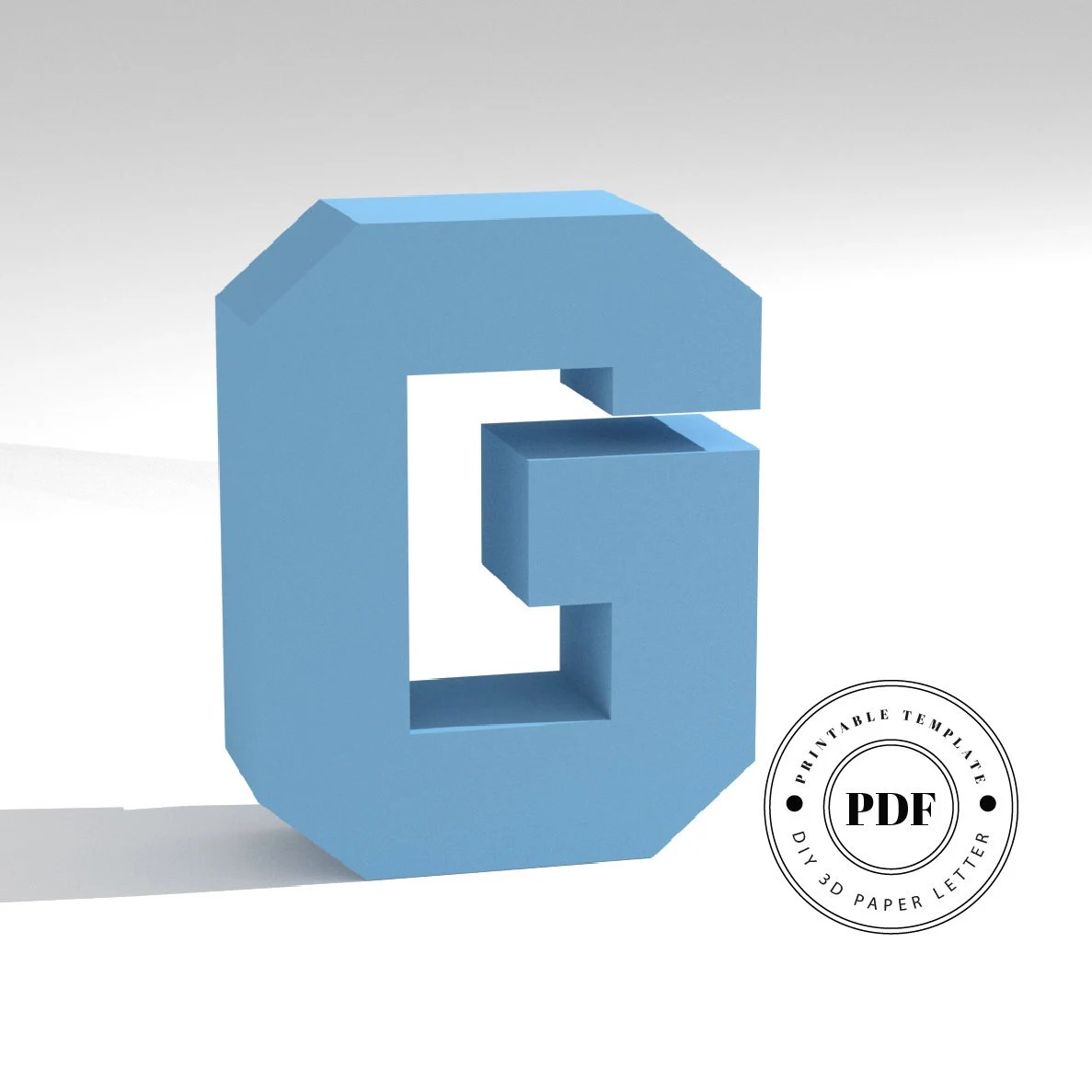 Printable DIY template PDF Letter G low poly paper model Etsy
