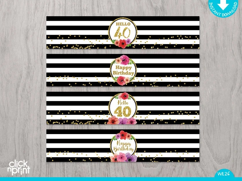40th Birthday Print Yourself Water Bottle Labels, Black, White and