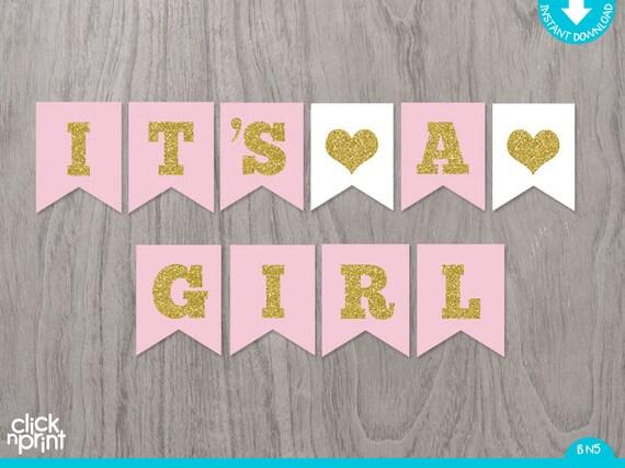 Pink and Gold Printable Baby Shower Girl Banner, Printable Baby
