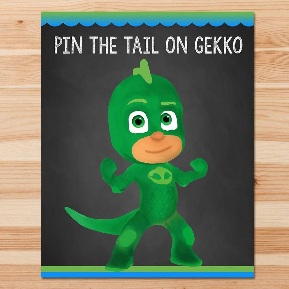 PJ Masks Pin the Tail Game Gekko Green Chalkboard Boy PJ Etsy
