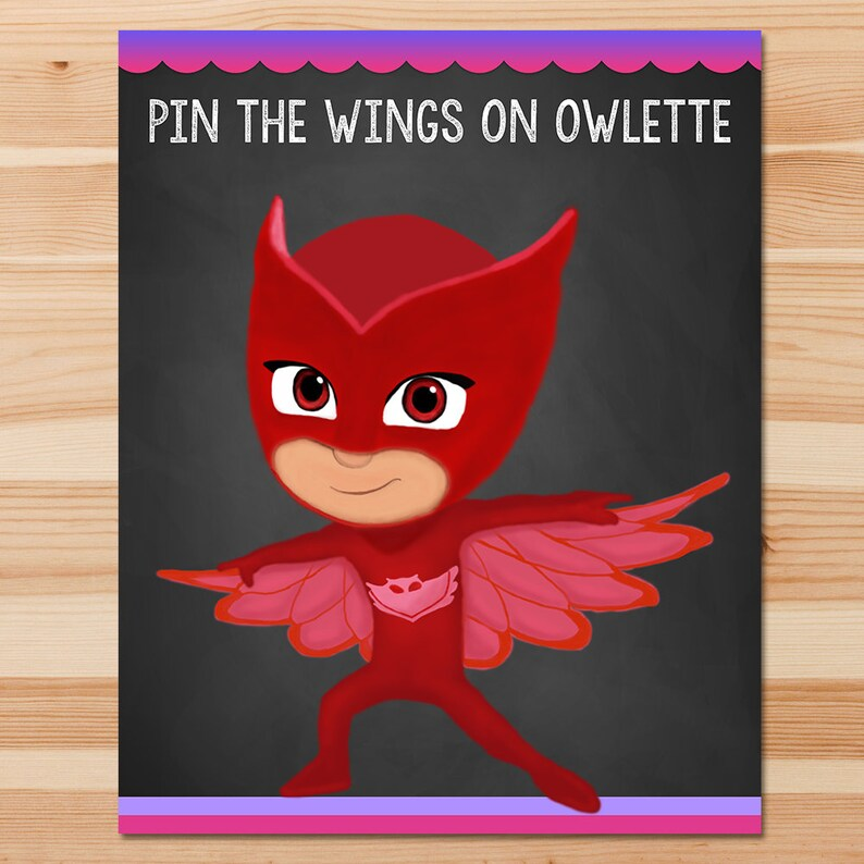PJ Masks Pin the Tail Game Owlette Pink Chalkboard Girl PJ Etsy
