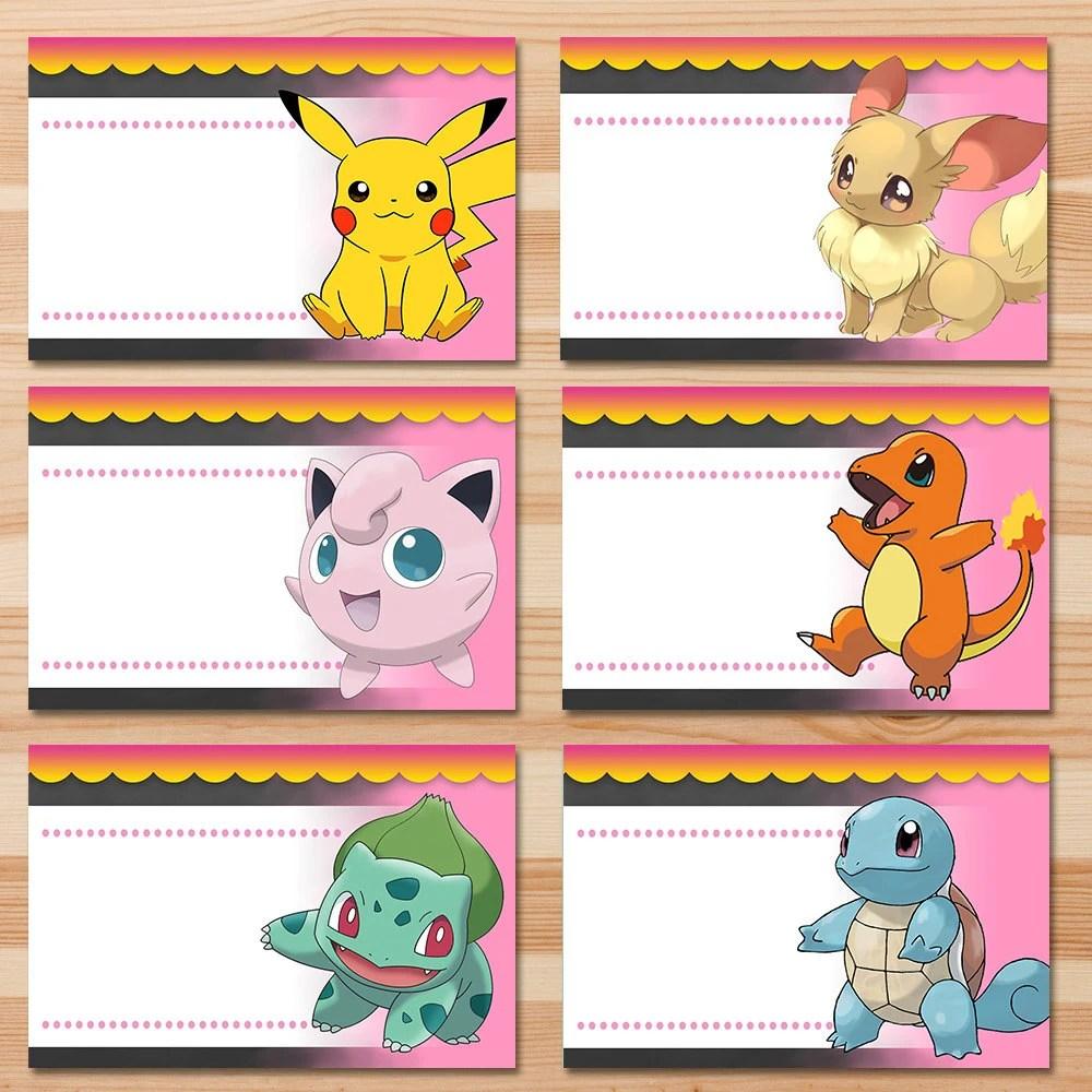 Pokemon Food Tents Pink Girl Pokemon Pikachu Food Labels Etsy
