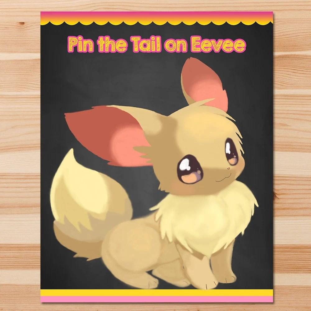 Pokemon Pin the Tail Game Eevee Pink Girl Pokemon Game Etsy