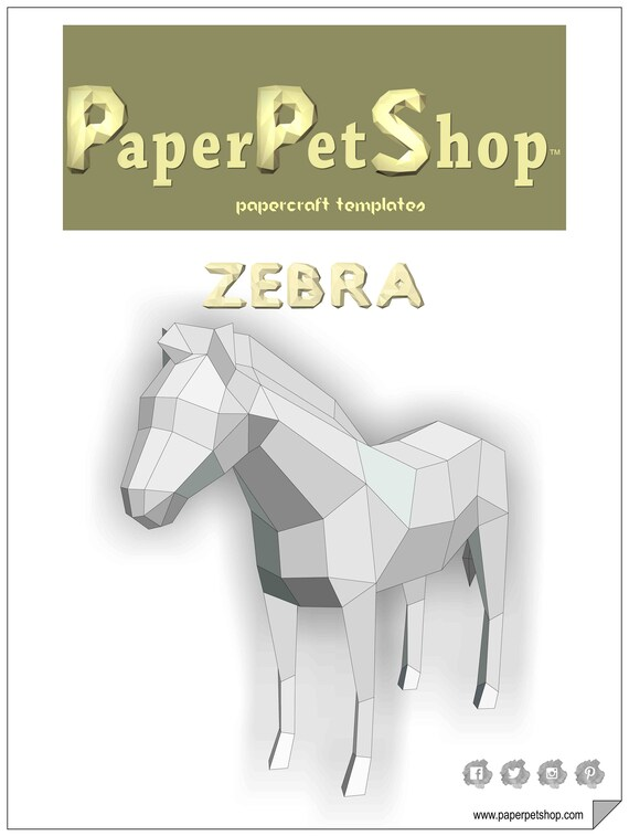 Zebra Printable Papercraft Template paper model Etsy