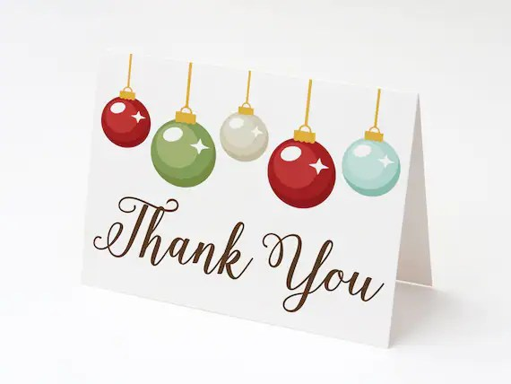 Christmas Thank You Cards, Blank Holiday Thank You Cards, Set of 12