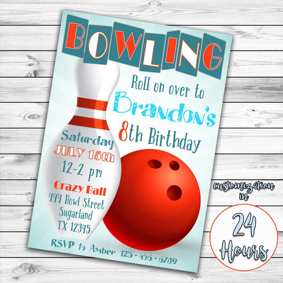 Bowling Invitation Bowling Birthday Invitation Bowling Party Etsy