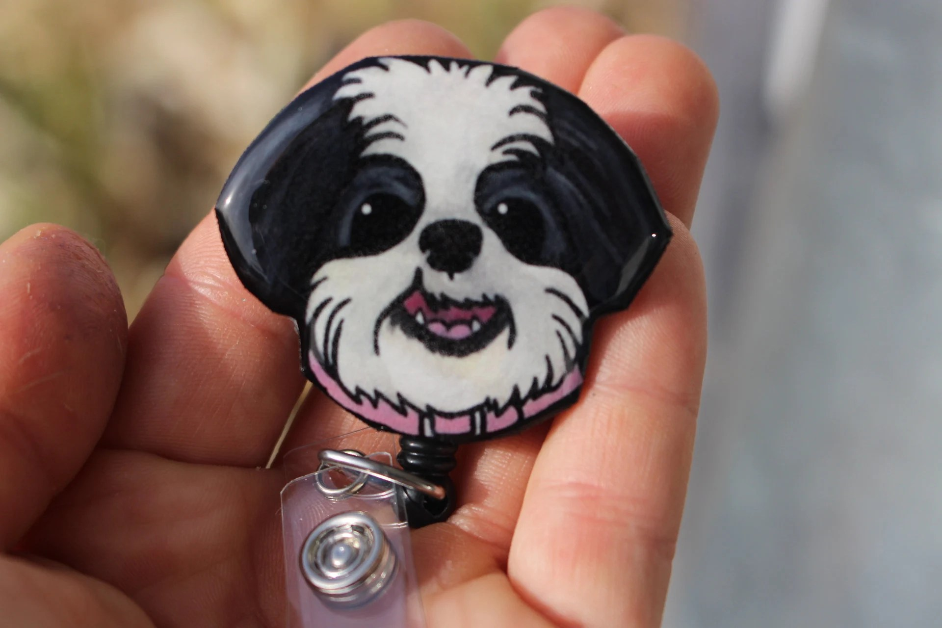 Shih Tzu Retractable Id Badge Holder For Prepunch Badges