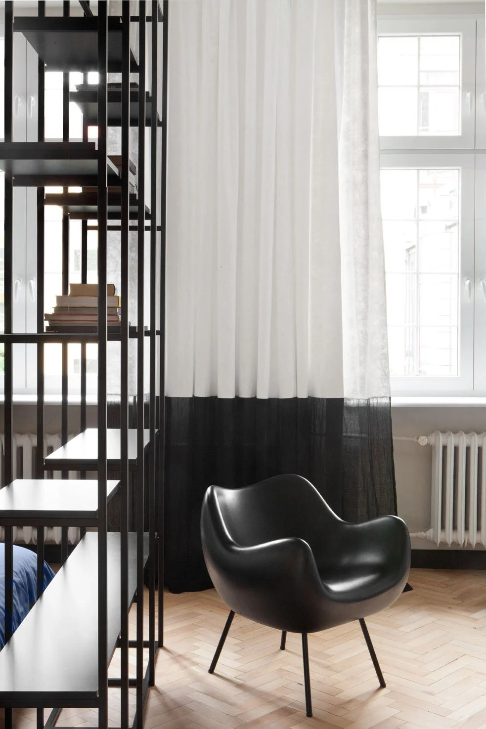 Scandinavian Ready Made Curtains Eco Friendly White Black Window Curtains In Scandinavian Style Thin Curtains In Scandinavian Design Industrial Window Decor