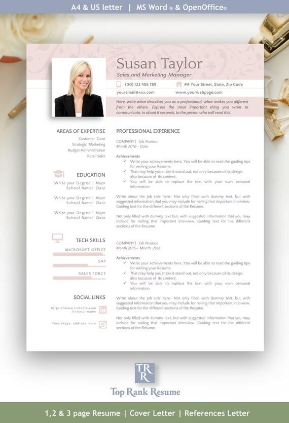 Resume Template Free Linkedin Banner Cover Letter Etsy