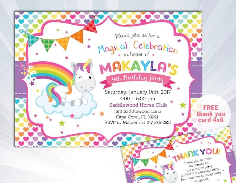 Rainbow Unicorn Invitation Unicorn Birthday Invitation Etsy