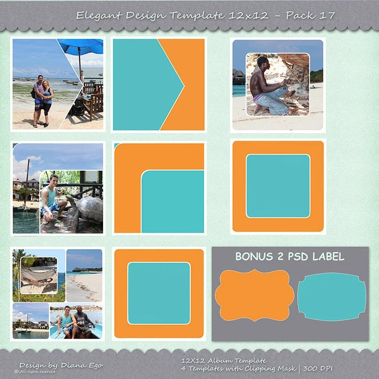 12x12 Photo Album Template Pack 4 PSD Templates Photo Etsy