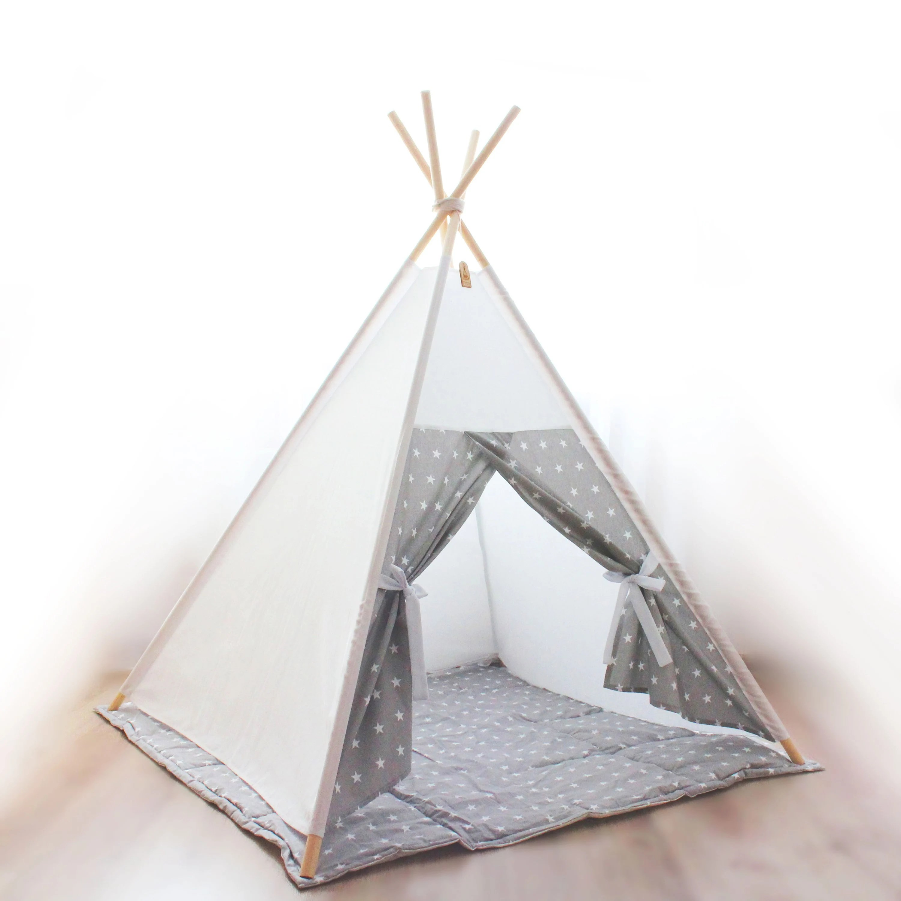 Teepee Kids Kids Teepee White Gray Stars Girls Gift Playhouse Kids Play Teepee Baby Girl Gift Childrens Teepee Play Tent For Girl Baby Shower Tipi