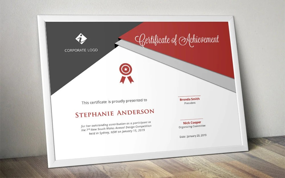 Script triangle corporate certificate template for MS Word Etsy