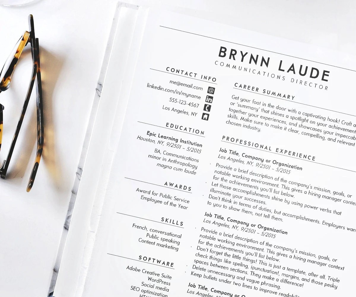 Resume Standard Resume Resume Template Resume for Word CV Etsy