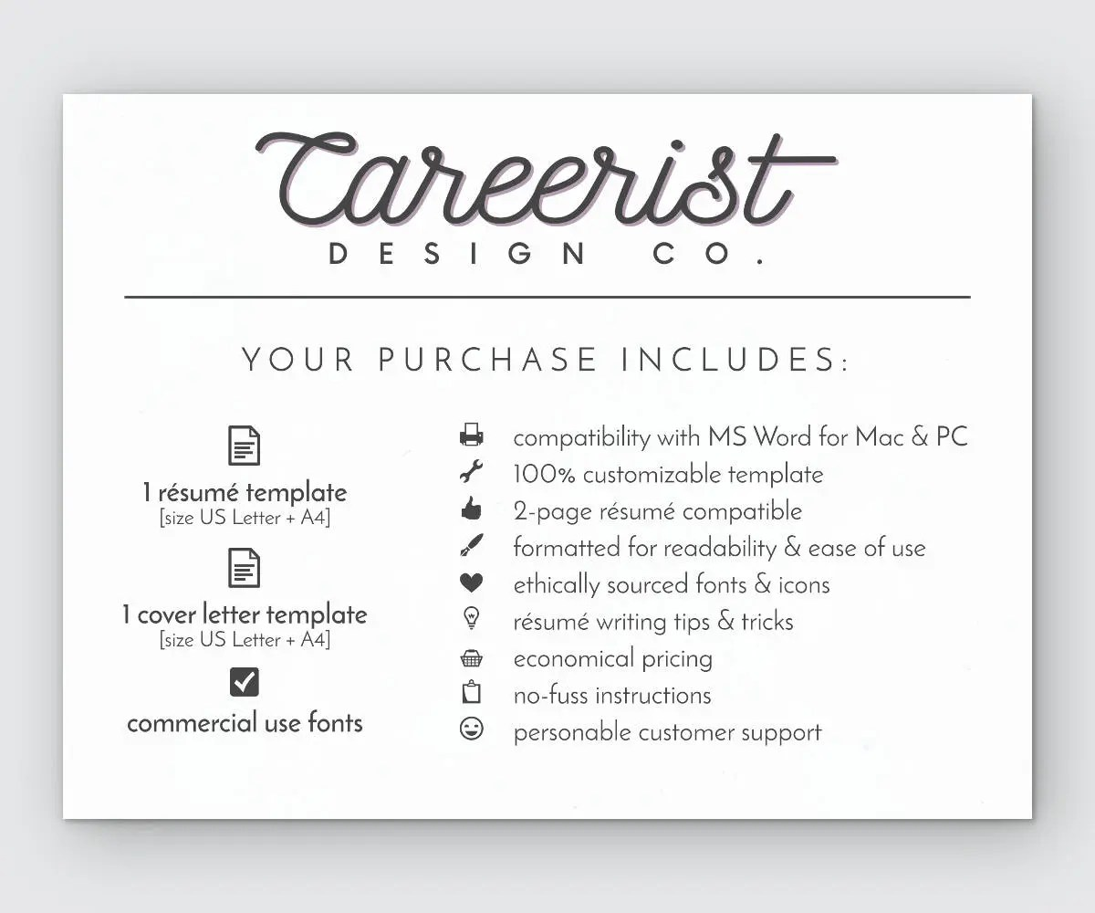 Classic Resume Resume Template Resume Instant Download Etsy