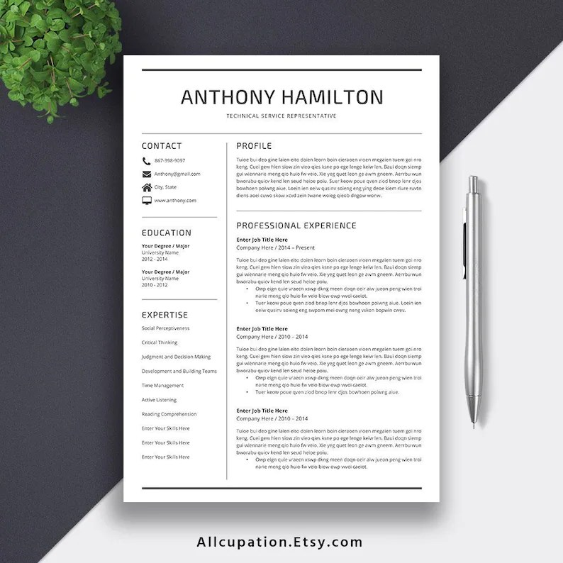 2019 Professional Resume Template 1-5 Pages Resume Cover Etsy