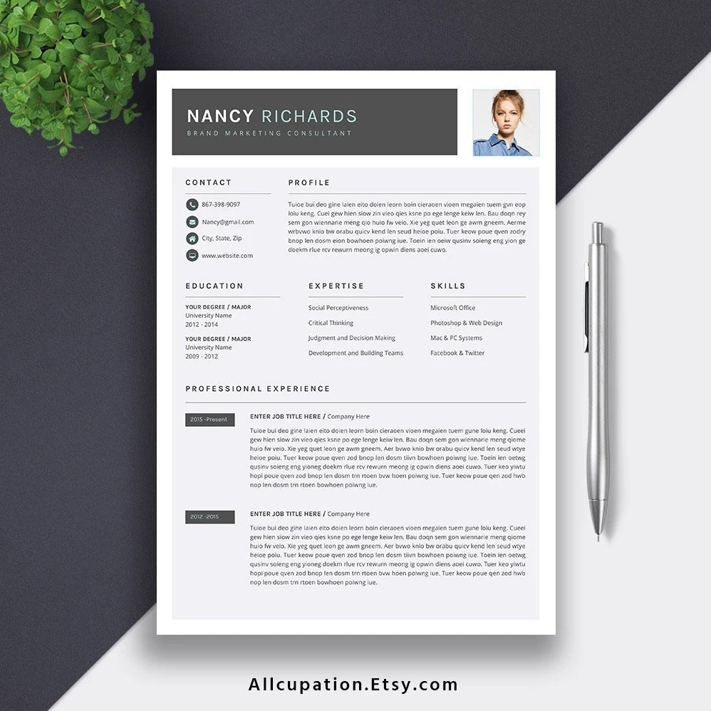 Modern Resume 2019 Professional Resume CV Template Editable Etsy
