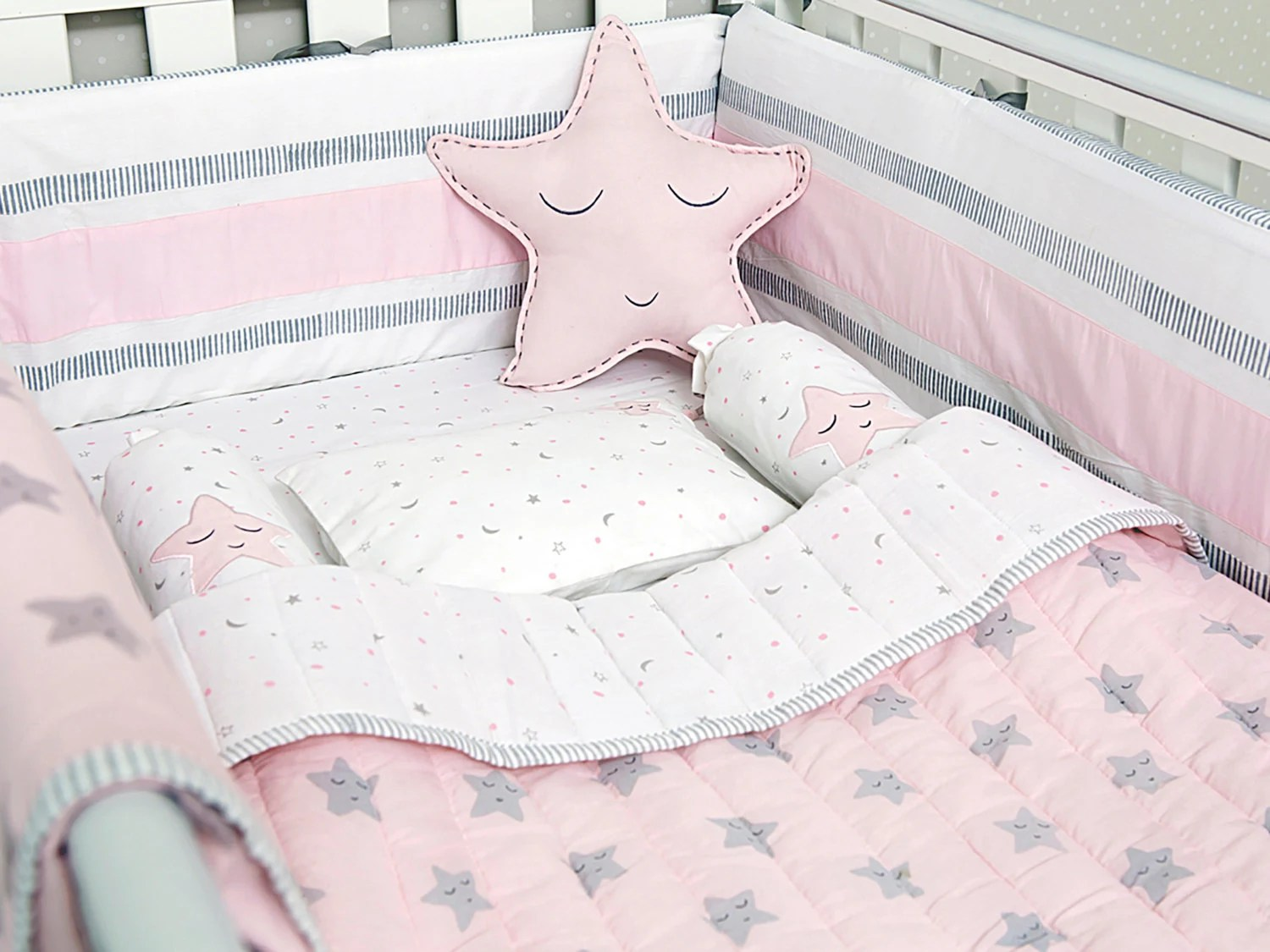 Full Crib Bedding Sets Pink Star Organic Cot Baby Bedding Set
