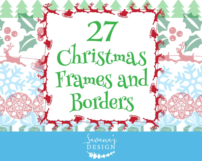 Christmas border clipart Holiday borders Christmas digital Etsy