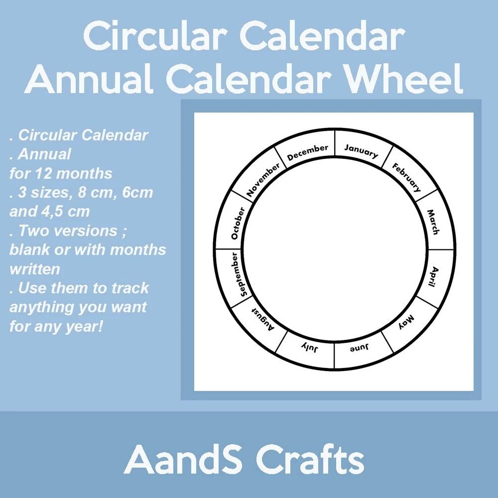 Annual Circular Calendar Calendar Wheel Yearly Blank - circular calendar