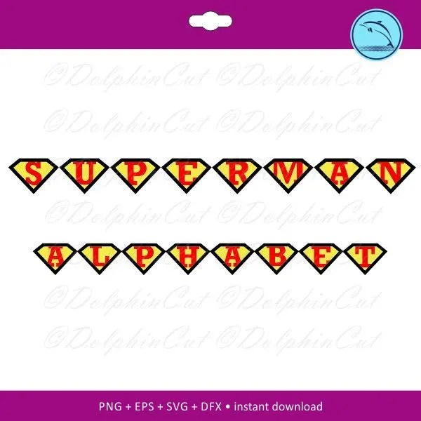 Superman Alphabet yellow red ruby stylish picture cutting Etsy