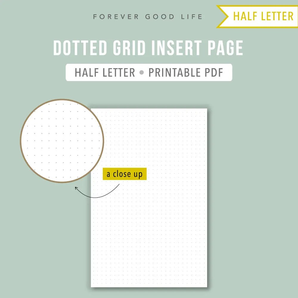 PRINTABLE Half letter dot grid Bullet journal template BuJo Etsy