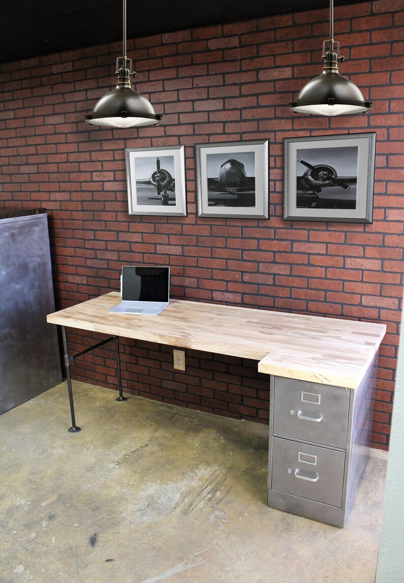 Desk With File Cabinet 2 Drawer Rustic Pipe Desk Metal Filing Cabinet Industrial Office File Cabinet Metal Filing Cabinet Desk Rustic Office Furniture