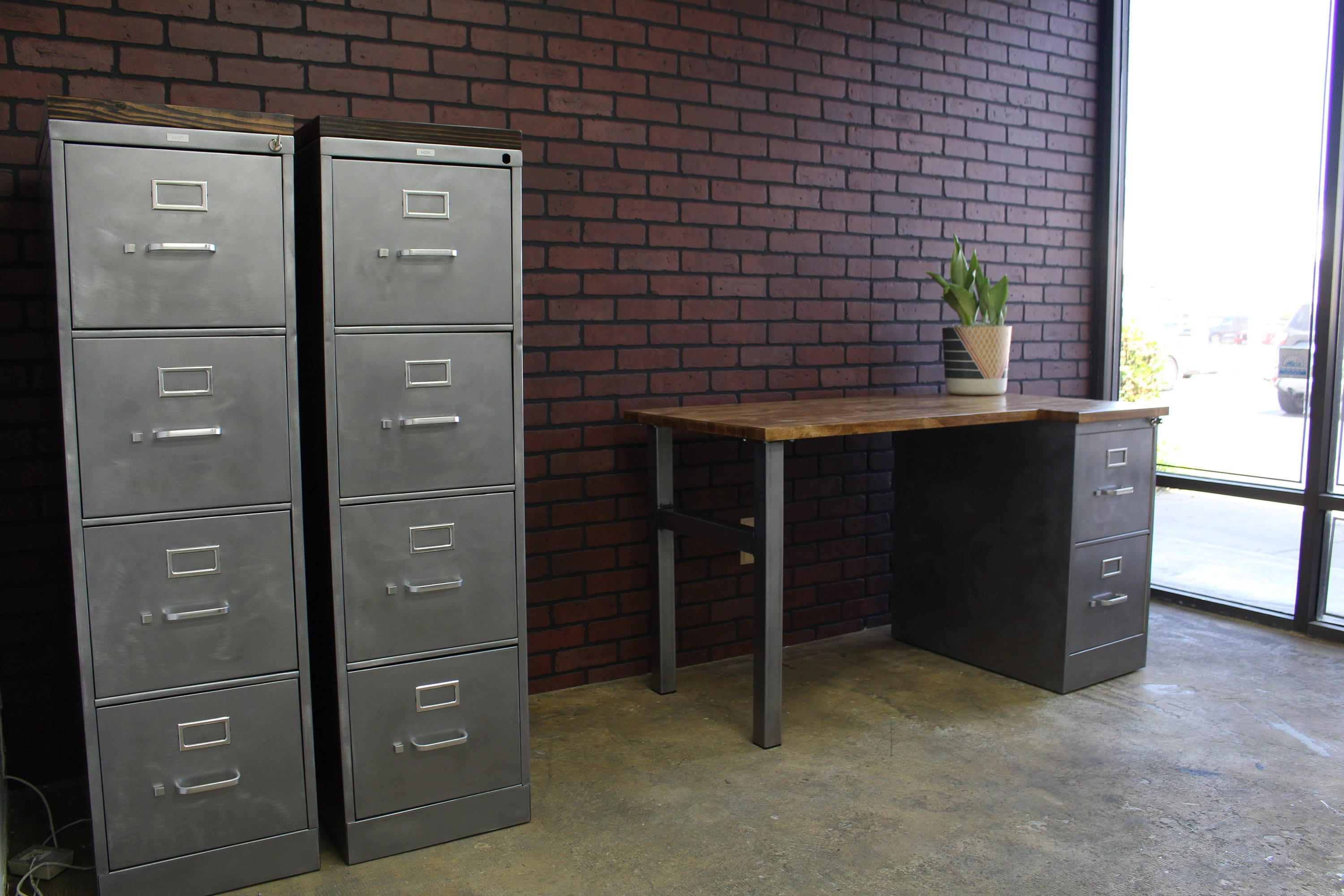 Solid Wood File Cabinet Refinished 4 Drawer Metal Filing Cabinet W Or W O Solid Wood Top Industrial Cabinet Metal Filing Cabinet Rustic Office Hon
