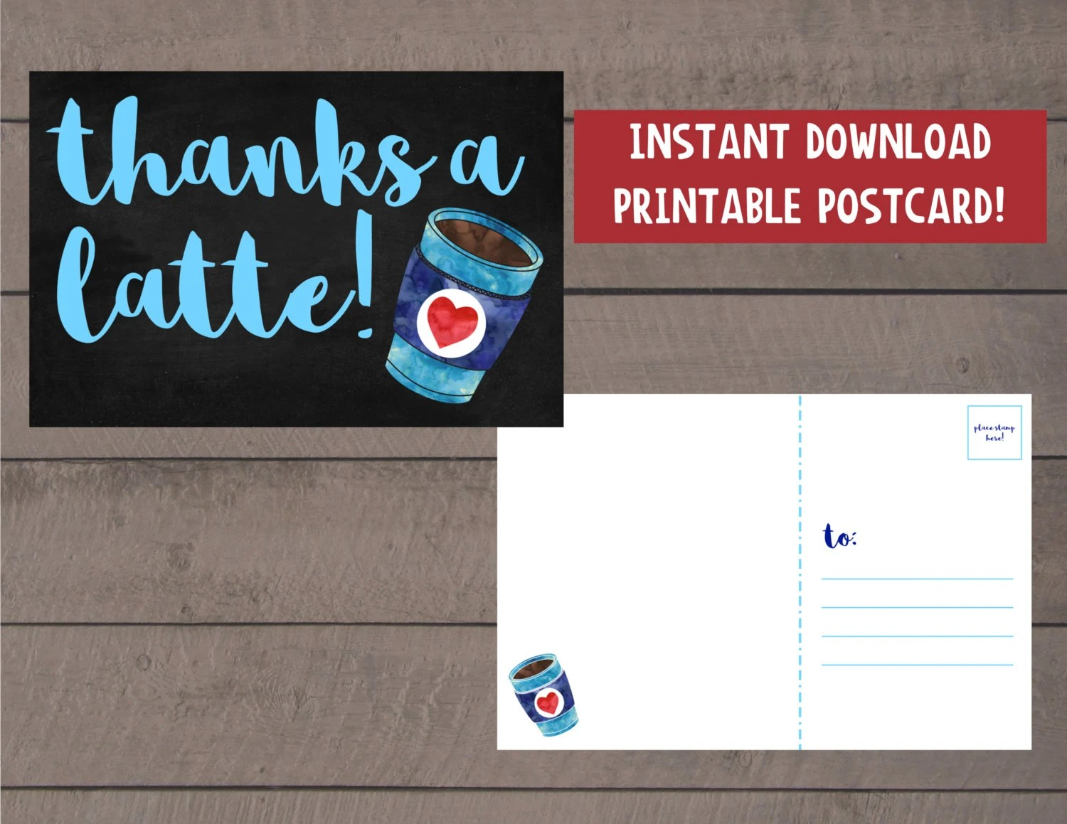 Printable postcard Thanks a latte Thank you postcard Etsy