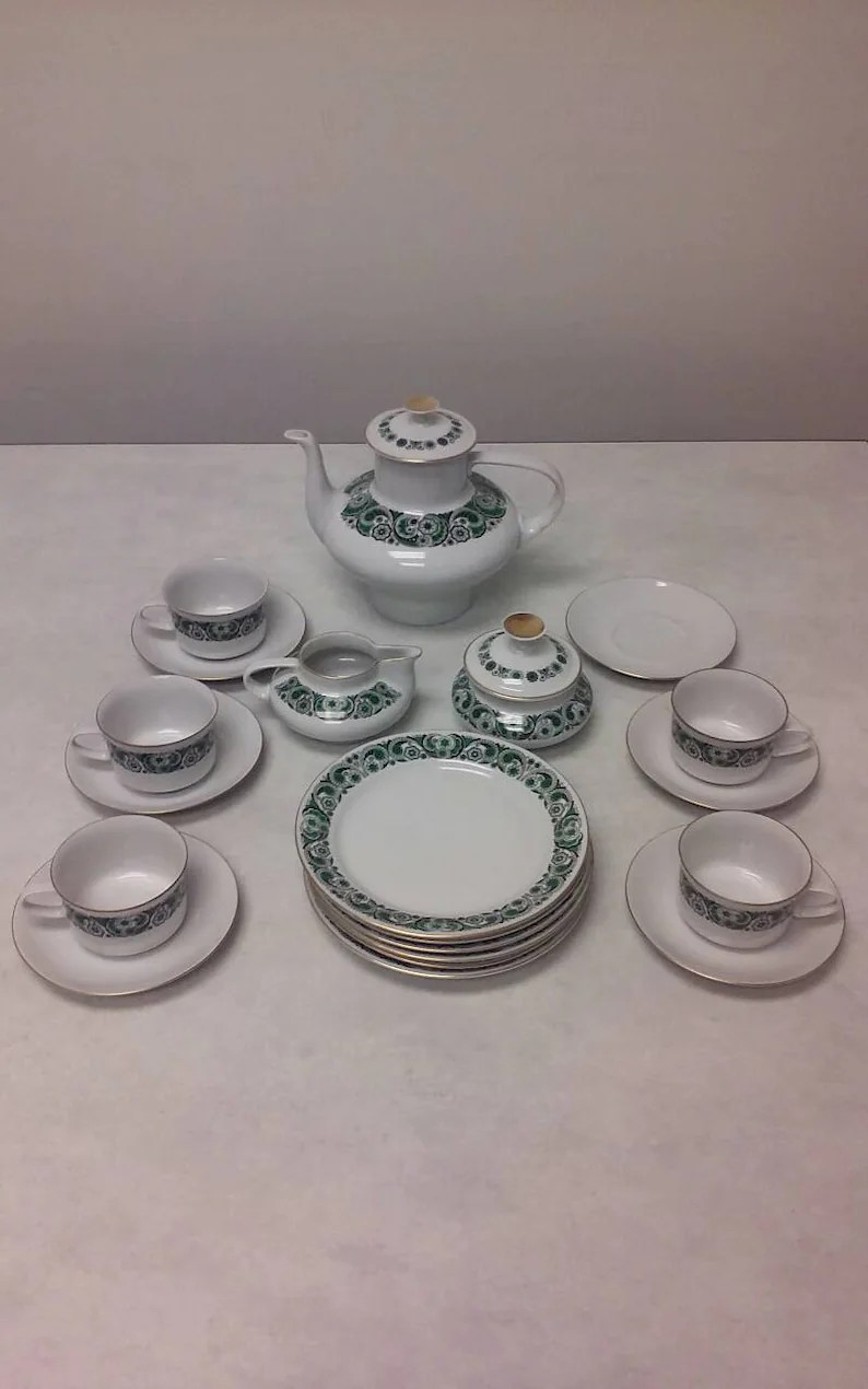 Porzellan Service 22 Piece Freiberger Porzellan Tea Service Set From East Germany