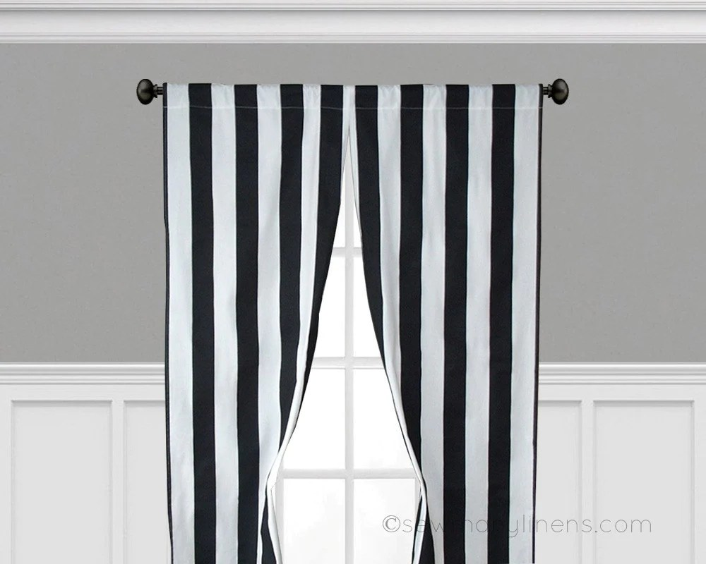 Black Stripe Curtains Black Stripe Curtains Vertical Window Treatments Black And White Curtain Panels Valance Set Pair Modern Home Decor