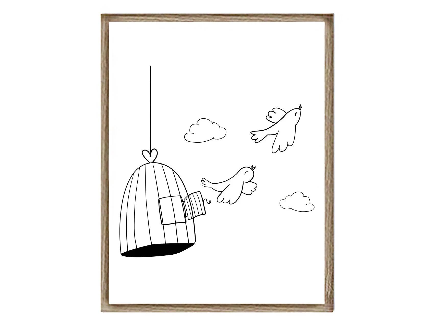 BIRDS print PRINTABLE wall art Instant download prints bird Etsy