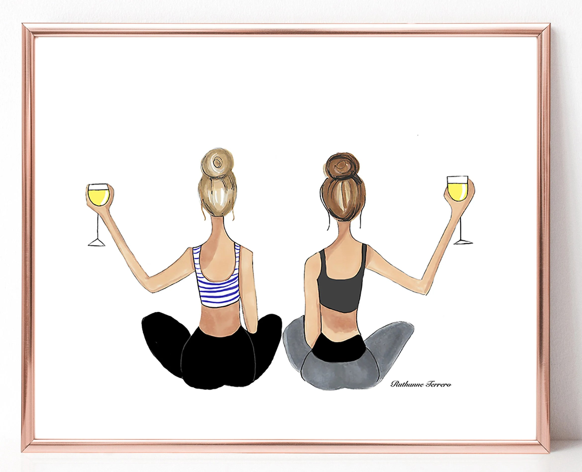Beleuchtung Yoga Studio Yoga With Wine Print Best Friends Print Best Friend Birthday Best Friend Gift Yoga Studio Yoga Friends Yoga Gift