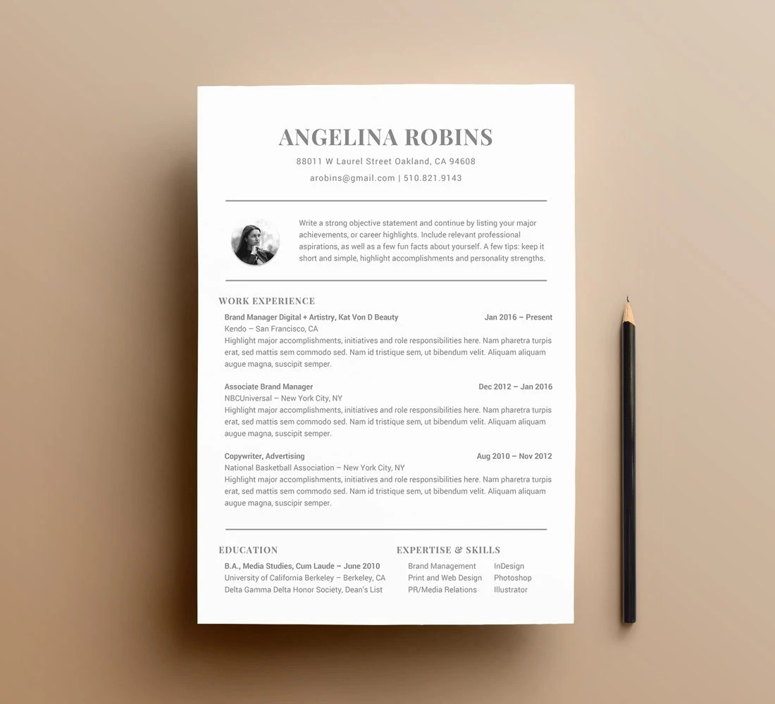 Fully Customizable Professional Resume Templates for Word Modern CV for  Personal Branding Resume Formatting and Resume Fonts