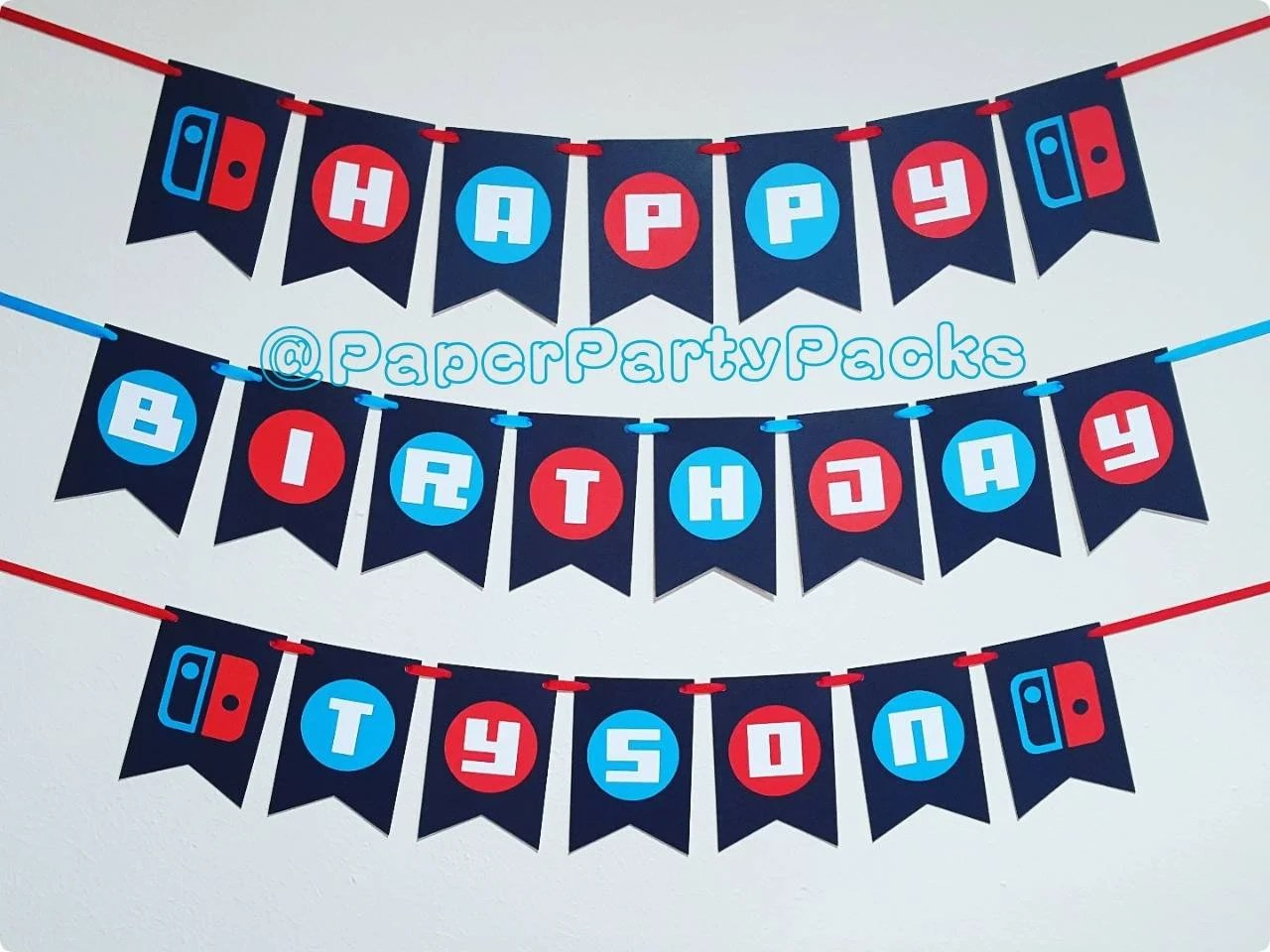 Set of 3- Blue and Red Game Controller Banners Happy Birthday Banner