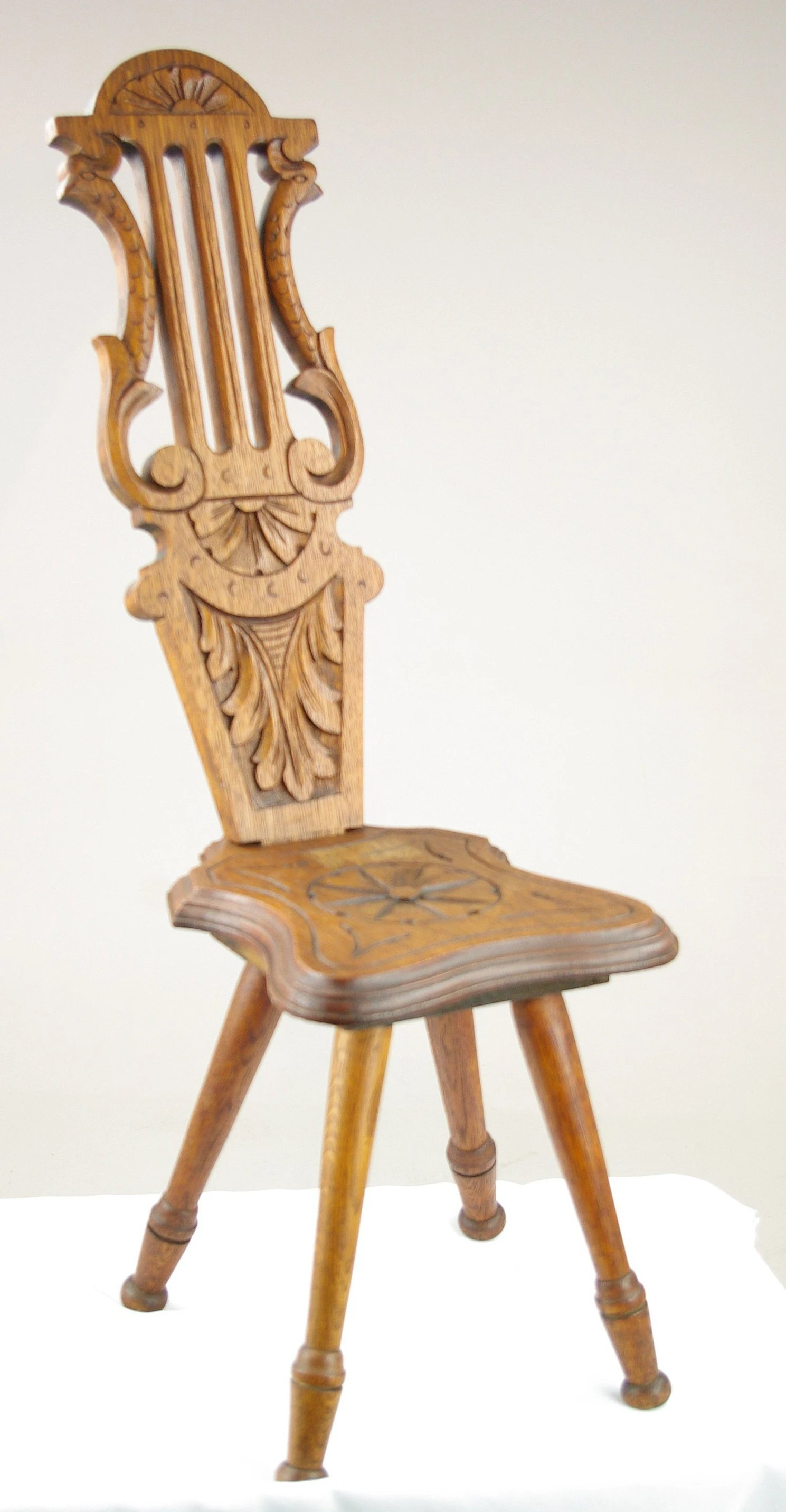 Spinning Chair Spinning Chair Antique Chair Carved Oak Chair Hall Chair Scotland 1880 Antique Furniture B1318