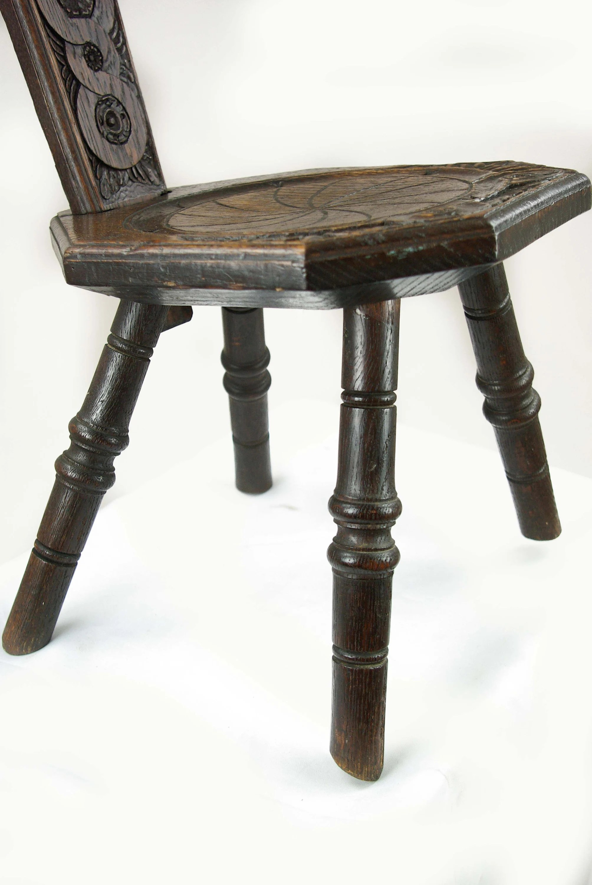 Spinning Chair Spinning Chair Antique Chair Carved Oak Chair Scotland 1880 Antique Furniture B1308
