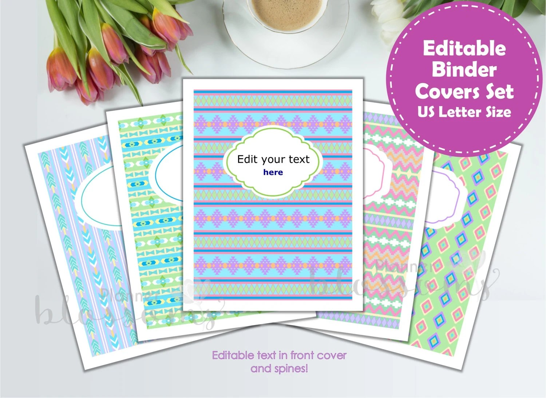 Editable binder cover printable 5 designs tribal theme Etsy