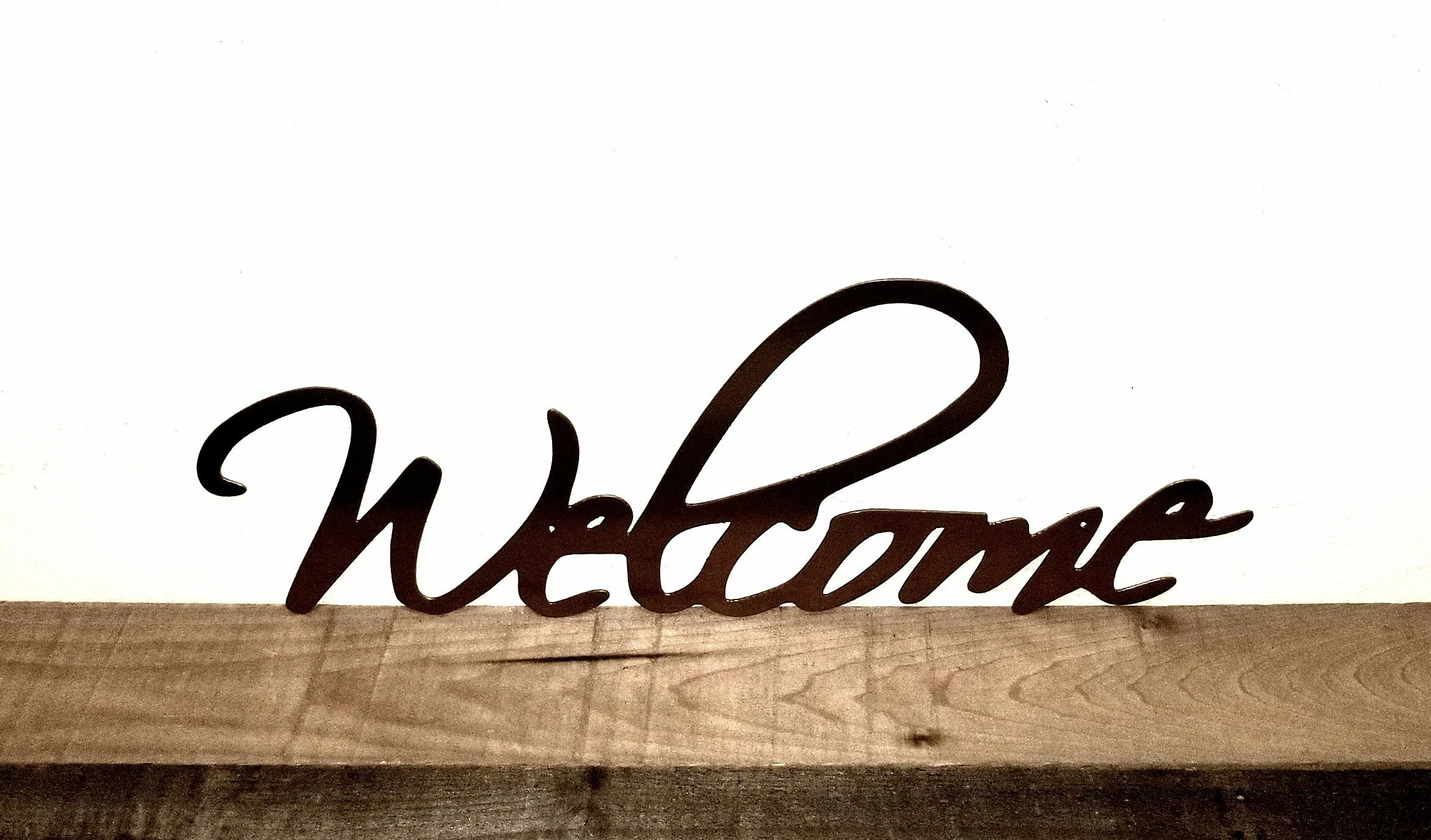 Welcome Sign Cursive Welcome Word Metal Wall Art Cutout Etsy