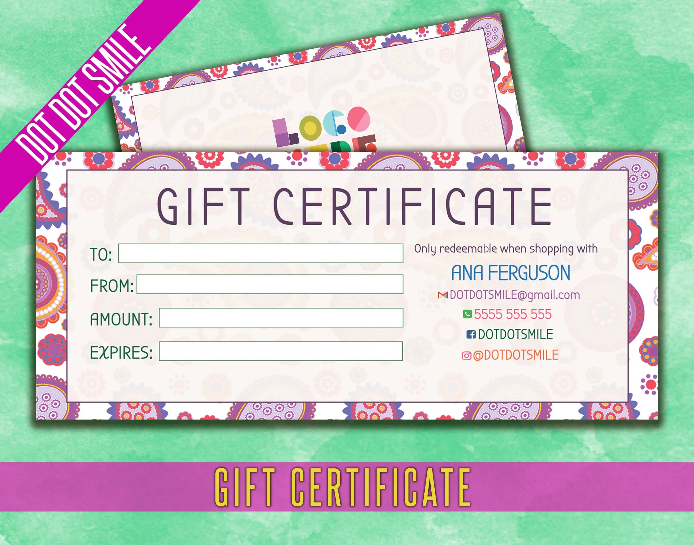 Dot Dot Smile Gift Certificate / Business Card Personalized Etsy